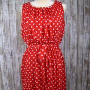 GNW red polka dot dress 8 tie waist retro print